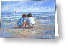Finding Sea Shells Brother And Sister Greeting Card