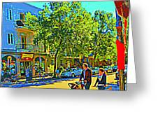 Fine Day For Baby Strollers And Bikes Art Of Montreal Street Scene Across Maitre Gourmet Cafe Greeting Card