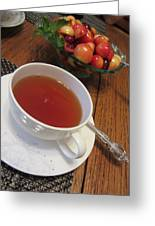 Fine Tea And Cherries Greeting Card