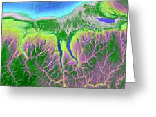 Finger Lakes Map Art Greeting Card by Paul Hein