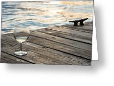 Finger Lakes Wine Tasting - Wine Glass On The Dock Greeting Card