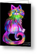 Finger Painted Cat Greeting Card