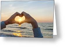 Fingers Heart Framing Ocean Sunset Greeting Card