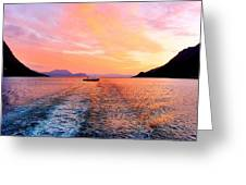 Fiord Sunset  Greeting Card