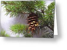Fir Cone Digital Painting Greeting Card