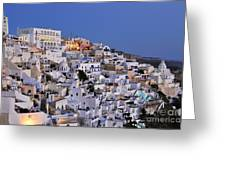 Fira Town During Dusk Time Greeting Card