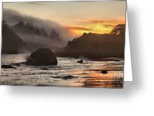 Fire And Fog At Trinidad Greeting Card by Adam Jewell