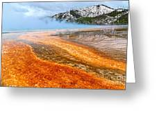 Fire And Ice - Grand Prismatic Spring On A Cloudy Day. Greeting Card