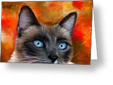 Fire And Ice - Siamese Cat Painting Greeting Card