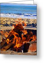 Fire At The Beach Greeting Card