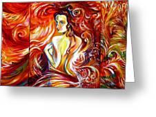Fire Bird. Zhar-ptitsa. Triptych Greeting Card