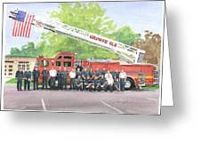 Fire Brigade Truck Watercolor Painting Greeting Card