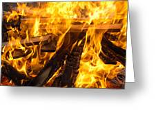 Fire - Burning Wood Greeting Card