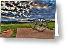 Fire Clouds Over A Gettysburg Cannon Greeting Card
