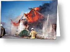 Fire Department On Scene With Flames Showing Greeting Card
