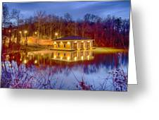 Fire Department Rescue Building On Water Greeting Card