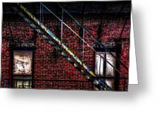 Fire Escape And Windows Greeting Card