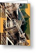 Fire Escapes In Blue And Gold Greeting Card