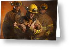 Fire Fighters Rescuing A Baby Greeting Card by Don Hammond