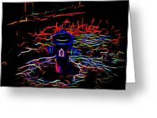 Fire Hydrant Bathed In Neon Greeting Card