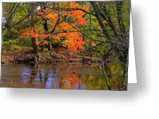 Fire In The Creek A1 - Owens Creek Near Loys Station Covered Bridge - Autumn Frederick County Md Greeting Card
