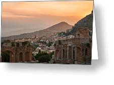 Fire Over Taormina City Greeting Card