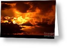 Fire Over The Ocean Greeting Card
