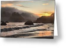 Fire Over The Sea Stacks Greeting Card by Adam Jewell