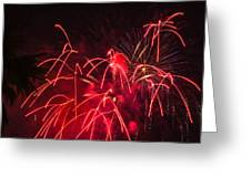 Fire Red Orange Fireworks Galveston Greeting Card
