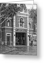 Fire Station Main Street Disneyland Bw Greeting Card