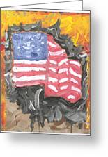 Fire Storm Flag Greeting Card