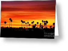 Fire Sunset In Long Beach Greeting Card