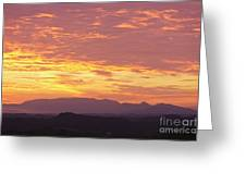 Fire Sunset Over Smoky Mountains Greeting Card
