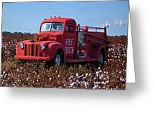 Fire Truck In The Cotton Field Greeting Card