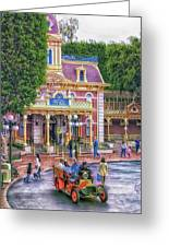 Fire Truck Main Street Disneyland Greeting Card