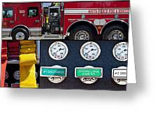 Fire Truck With Isolated Views Greeting Card