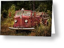 Fire Truck With Texture Greeting Card