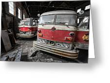 Fire Trucks Abandoned And Dirty Greeting Card