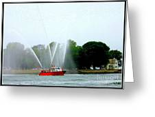 Fireboat Water Show On Long Island Sound Greeting Card