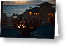 Firebowl At Night Greeting Card