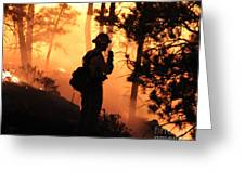 Firefighter At Night On The White Draw Fire Greeting Card