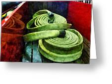 Fireman - Coiled Fire Hoses Greeting Card