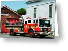 Fireman - Fire Engine In Front Of Fire Station Greeting Card