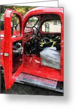 Fireman - Fire Truck With Fireman's Uniform Greeting Card