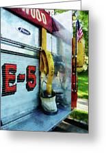 Fireman - Hose In Bucket On Fire Truck Greeting Card
