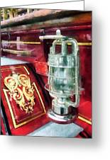 Fireman - Lantern On Old Fire Truck Greeting Card