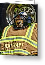 Fireman Turnout Gear Lieutenant Greeting Card