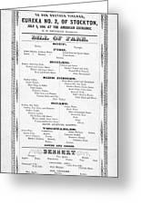 Firemen Dinner Menu - San Francisco - 1856 Greeting Card