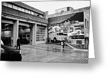 firemen hosing down Vancouver fire rescue services hall 2 in downtown eastside  BC Canada Greeting Card by Joe Fox