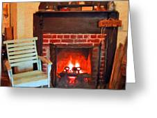 The Family Hearth - Fireplace Old Rocking Chair Greeting Card